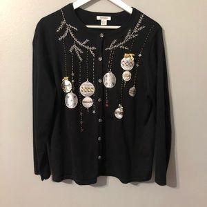 Christmas Sweater-Black, Silver, Gold Cardigan Lg